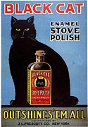 Featured Metal Prints -  1920s Usa Cats Black Cat Enamel Stove Metal Print by The Advertising Archives