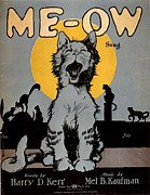 Featured Metal Prints -  1920s Usa Cats Me-ow Meow Metal Print by The Advertising Archives