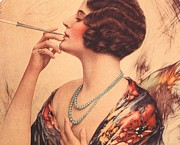 Women Drawings Prints -  1920s Usa Women Cigarettes Holders Print by The Advertising Archives
