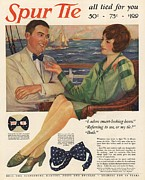 Couples Drawings Posters -  1927 1920s Usa Spur Bowties Couples Poster by The Advertising Archives