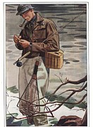 Smoking Drawings Posters -  1930s Usa Fishing Smoking Pipes Poster by The Advertising Archives