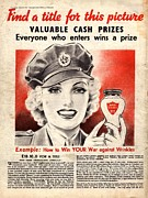 World War 2 Drawings Prints -  1940s Uk Skin Care Antiageing Anti Print by The Advertising Archives