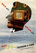 Nineteen-forties Drawings -  1940s Uk Televisions Gec Marconi by The Advertising Archives