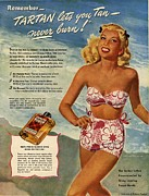 Swimsuits  Swimming Costumes Prints -  1940s Usa Tartan   Lotions Swim Suits Print by The Advertising Archives