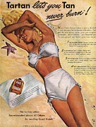 Swimsuits  Swimming Costumes Posters -  1940s Usa Tartan Suntans Sunbathing Poster by The Advertising Archives