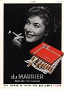 Smoking Drawings Posters -  1950 1950s Uk Smoking Cigarettes Du Poster by The Advertising Archives