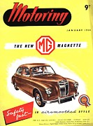 Featured Metal Prints -  1950s Uk Cars Mg Magnette Covers Metal Print by The Advertising Archives