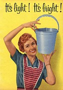 Housewife Prints -  1950s Uk Housewife Housewives Buckets Print by The Advertising Archives