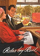 Vintage Posters -  1950s Uk Rail Carriage Passengers Poster by The Advertising Archives