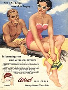Twentieth Century Drawings Posters -  1950s Uk Sun Creams Lotions Tan Poster by The Advertising Archives