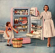 Housewife Prints -  1950s Usa Fridges Housewives Housewife Print by The Advertising Archives