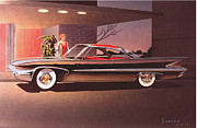 Muscle Car Art Prints -  1960 DESOTO classic styling design concept rendering sketch Print by John Samsen
