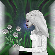 Pearls Digital Art -  202 - Shy  Bride   by Irmgard Schoendorf Welch