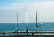 Santa Monica Digital Art Metal Prints -  3 Fishing Poles Metal Print by Antonino Escalante