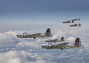 Flying Fortress Framed Prints -  381st Group Outbound Framed Print by Pat Speirs