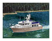 Cruising Paintings -  50 Nordhavn Trawler Yacht by Jack Pumphrey