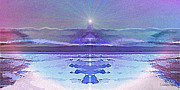 Lighthouse Digital Art -  934 - Landscape Surreal Blue Light by Irmgard Schoendorf Welch