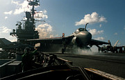 Storm Prints Digital Art Posters -  A-6E Intruder aircraft is launched from the flight deck of the  Poster by Amy Denson