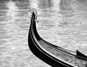River Transportation Framed Prints -  A Gondola In Black Framed Print by Mel Steinhauer
