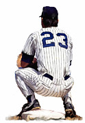 Baseball Art Drawings Prints -  A Moment To Remember  Don Mattingly  Print by Iconic Images Art Gallery David Pucciarelli