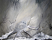 Snow Drifts Paintings -  A peaceful Christmas Morning by Sharon Burger
