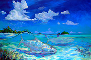 Game Painting Prints -  A Place Id Rather Be - Caribbean Bonefish Fly Fishing Painting Print by Mike Savlen