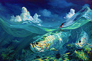 Tarpon Posters -  A Place Id Rather Be - Caribbean Tarpon Fish Fly Fishing Painting Poster by Mike Savlen