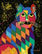 Dessie Durham Art -  A Quilted Cat by Dessie Durham