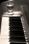 James Bo Insogna Prints -  A shot of Bourbon Whiskey and The BW Piano Ivory Keys in Sepia Print by James Bo Insogna