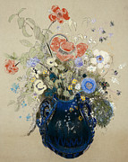 Floral Prints Posters -  A Vase of Blue Flowers Poster by Odilon Redon