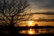 Floods Digital Art Posters -  A Winter Sunset Poster by Gail Girvan
