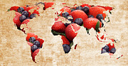 Atlas Mixed Media Posters -  Abstract World Map - Berries And Cream - Tan Poster by Andee Photography