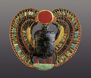 Egyptian Art Prints - © Aisaeverett Collection Scarab Print by Everett