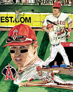 Baseball Drawings Posters -  AL 2012 MLB Rookie of the Year Mike Trout  Poster by Israel Torres