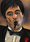 Al Pacino Digital Art Framed Prints -  Al Pacino-Godfather Framed Print by Andrzej  Szczerski