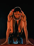Christian Artwork Painting Metal Prints -  Allyson Felix  Metal Print by Paul  Meijering
