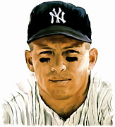 Mickey Mantle Painting Originals -  American Icon Mickey Mantle by Iconic Images Art Gallery David Pucciarelli