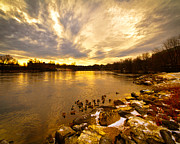 Sunrise  Posters -  Androscoggin River between Lewiston and Auburn Poster by Bob Orsillo