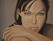 Rolling Stones Painting Prints -  Angelina Jolie 2 Print by Paul  Meijering