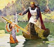 Arthurian Legend Prints -  Arthur and Excalibur Print by James Edwin McConnell