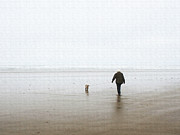 Foggy Day Digital Art Prints -  At The Beach On A Foggy Day Print by Tom Janca