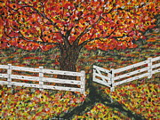 Autumn At The White Fence Farm Print by Jeffrey Koss