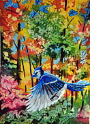 John W Walker Framed Prints -  Autumn Blue Jay Framed Print by John W Walker