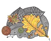 Tangle Drawings -  Autumn Leaves by Terry Fleckney