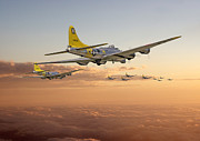 Flying Posters -  B17 - 486th BG - Homeward Poster by Pat Speirs