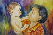 Gestures Framed Prints -  Baby with his grandma watercolor painting Framed Print by Cristina Movileanu