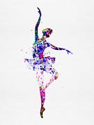Ballerina Dancing Watercolor 2 Print by Irina  March