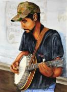 Banjo Prints -  Banjo Player Print by John W Walker