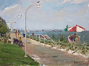 Norfolk; Paintings -  Beach Border Walk in Norfolk VA by Ylli Haruni