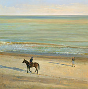 Vacations Painting Prints -  Beach Dialogue Dunwich Print by Timothy  Easton